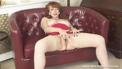 Kinky Busty redhead fingers wet pussy in nylons girdle heels Thumb