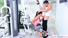 Kinky MILF Reagan Foxx finds a big cock to ride in the gym Thumb