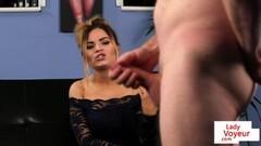 Hot British voyeur babe enjoys wanking session Thumb