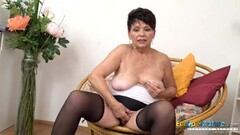 EuropeMaturE Hot Lady Solo Striptease and Stroking her pussy Thumb