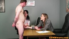 Office babes stroking dick during CFNM fetish playtime Thumb