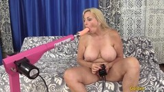 Racy blonde sucking cock on cam Thumb