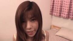 Cute Petite broad Yui Sarina lies over to get her luscious Thumb
